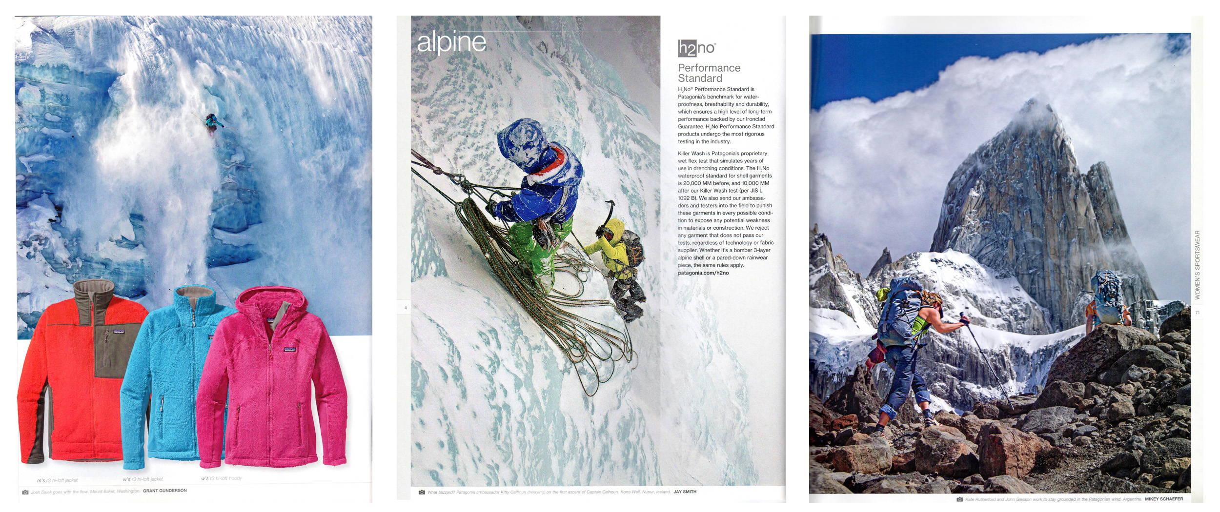 Patagonia Catalog Holiday 2012, p.16; Patagonia Alpine 2012, p.4; Patagonia Alpine 2012, p.71