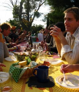 Filling the table with French neighbors at a celebration in Arles, France. Photograph by Amanda McMillan Lequieu. Click to enlarge.