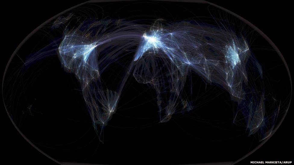 Michael Markieta's visualization of global flight paths traces the Anthropocene.