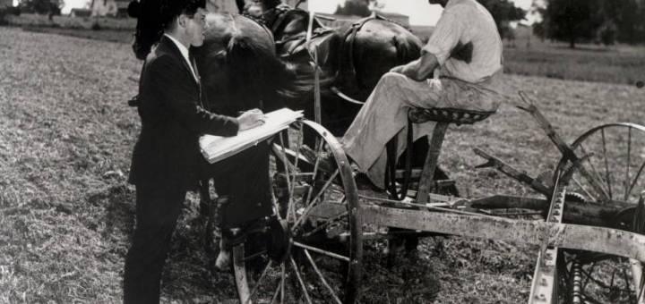 An enumerator visits a farmer for the 1940 Census.