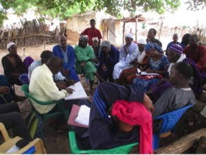 Community meeting discussing land-use planning and the trade-offs involved in protecting livestock movements through cropped areas in rural Senegal. Photo: Erin Kitchell.