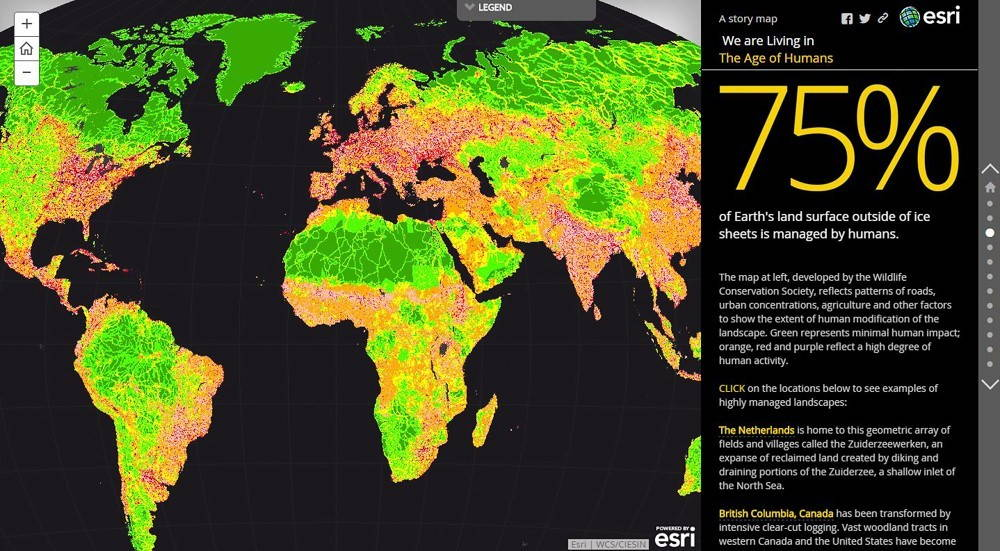 Map 1: The Anthropocene Atlas includes several maps illustrating the extent of human modification of ecosystems.