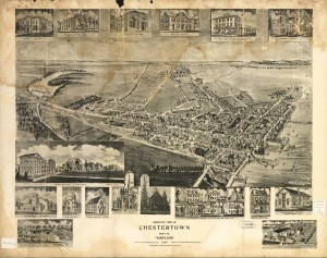 """""""Birds eye view of Chestertown, Kent Co., Maryland 1907."""" Created and published by Fowler & Kelley [sic] circa 1907. Photo courtesy of Library of Congress."""
