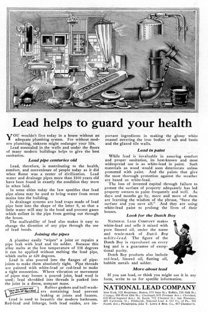 How lead plumbing got pitched; National Lead Company ad from 1920s.