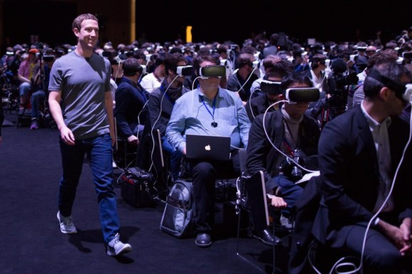 """Facebook co-founder Mark Zuckerberg presents on a virtual reality project. Source: <a href=""""https://twitter.com/joshuatopolsky/status/701582036545499137"""" target=""""_blank"""">Twitter</a>."""