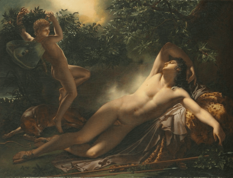"""The Sleep of Endymion, 1791, by Anne-Louis Girodet. Ewa Lajer-Burcharth <a href=""""https://books.google.com/books/about/Necklines.html?id=PfS0boVIzX0C"""" target=""""_blank"""">refers</a> to this painting as masculine entanglement with femininity. CC BY-SA 3.0."""