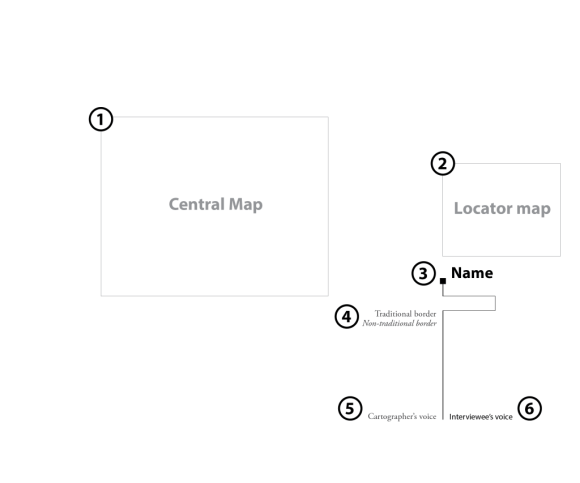 Figure 3: Schematic of map layout and design. Follow the numbering through each iteration in the map series. By Meghan Kelly.