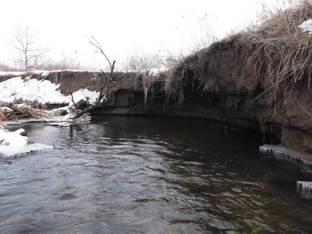 Eroding stream bank in winter. Photo by Luke Annear.