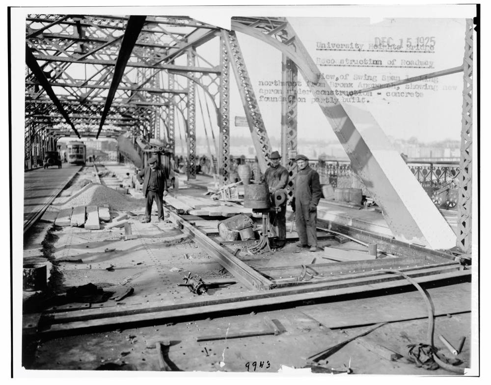 Reconstruction of roadway with concrete foundation, northwest Bronx, 1925. Image from Creative Commons.