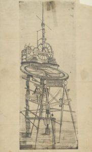 Muir's drawing of a desk clock. The actual desk is on display in the lobby of the Wisconsin Historical Society. Wisconsin Historical Society Image 26482.