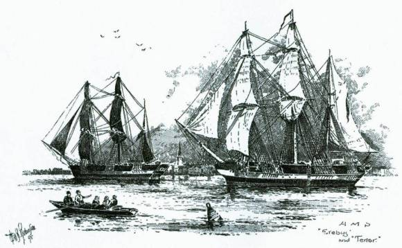 Drawing of the 1845 Franklin Expedition. Wikimedia Commons.