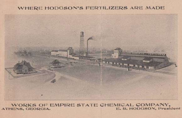 Businesses mixed and treated materials to manufacture balanced and water soluble plant foods in factories such as this. More than a factory, operations like Hodgson's fertilizer company were inland ports: emporiums of minerals, byproducts, and chemicals drawn from interregional and international networks. Collection of Timothy Johnson.