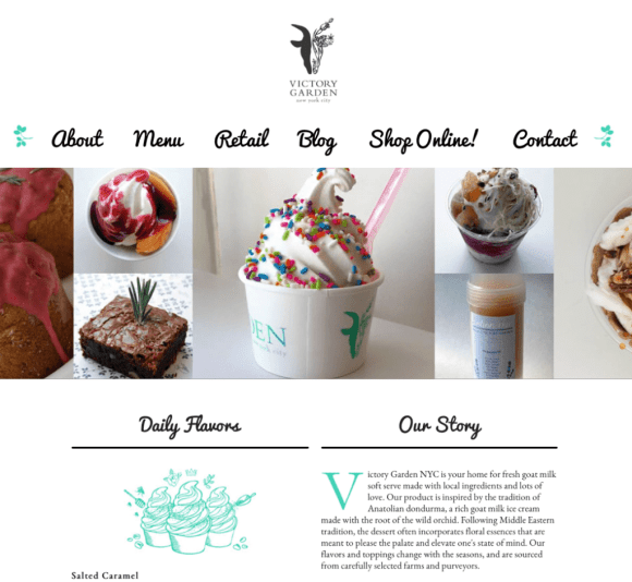 As this frozen yogurt shop demonstrates, the victory garden remains an important signifier of homegrown products even today. Image from victorygardennyc.com, taken January 8, 2016.