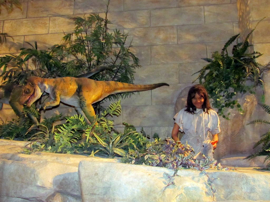 """Diorama at the Creation Museum. Answers in Genesis argues that the extinction of animal species including dinosaurs has taken place alongside recent human history. Photo by David Berkowitz via <a href=""""https://www.flickr.com/photos/davidberkowitz/6009861293/in/photostream/"""" target=""""_blank"""">Flickr</a>."""