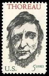 A postage stamp honoring the 150th anniversary of the birth of Henry David Thoreau. Designed by Leonard Baskin, 1967. Wikimedia Commons.