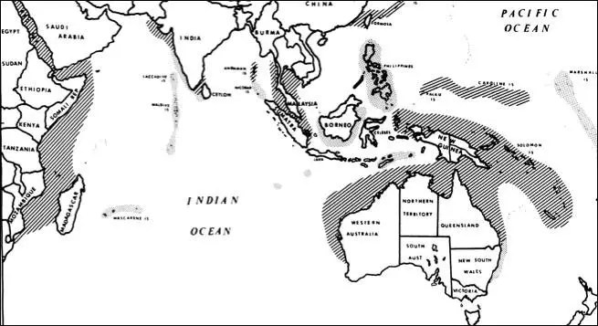 Geographical Range of the Dugong. Source: Sandra L. Husar, 1978.