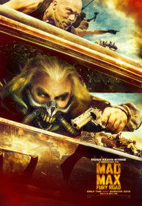 Mad Max: Fury Road film poster. Armed men drive in the desert