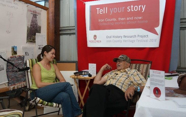 The oral history booth at the Iron County Fair in Saxon, Wisconsin. Photo by Joshua Lequieu, August, 2016.