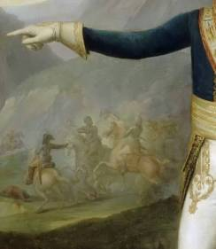 Warring forces battle on forces amid the Saint-Domingue landscape in the background of the painting, beneath Leclerc's outstretched arm.