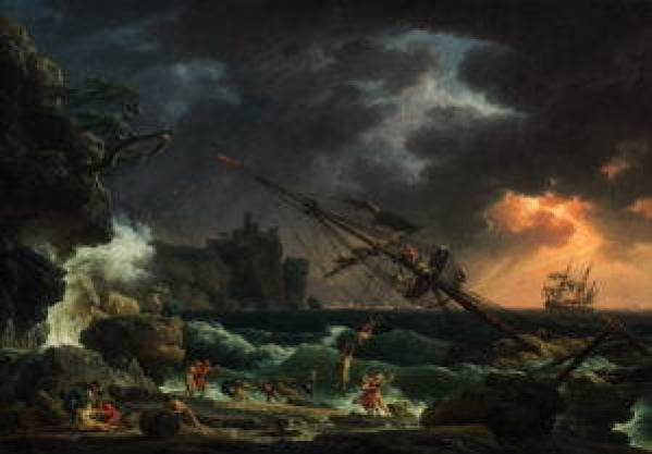 Oil on canvas. A masted ship tipped on its side while its passengers flee to shore.