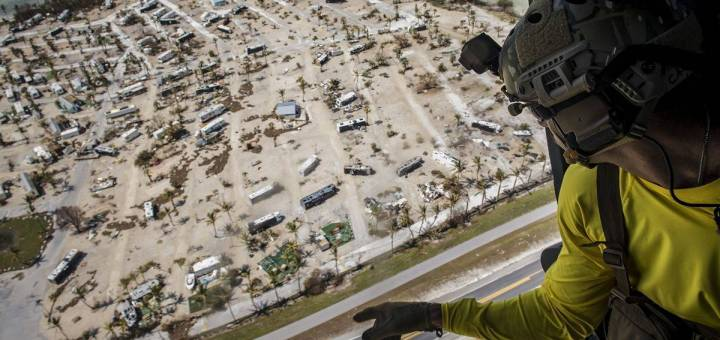 An aerial photograph shows beachfront damage caused by Hurricane Irma in South Florida.