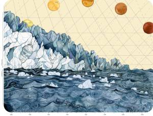 Jill Pelto illustration with the ocean in the foreground and two layers of glacier in the left rear, with the horizon shaped by a line graph moving down from left to right. Four suns are arranged in an arc in the background.