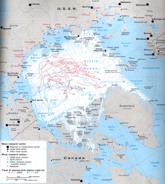 A map of the arctic shows US research stations in blue and the USSR in red.
