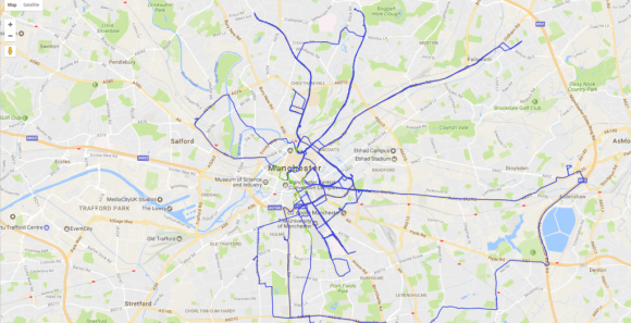 A series of lines follow streets in London.