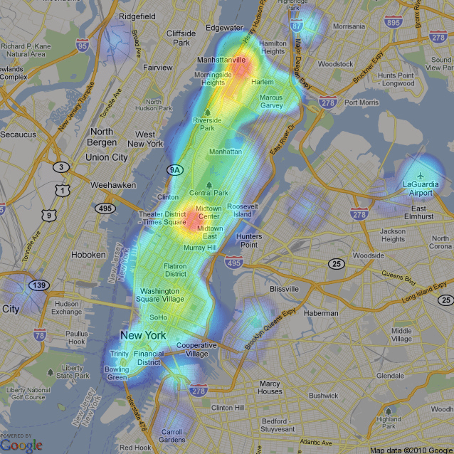 Map shows Manhattan and the Bronx with various colors showing Seward's most traveled locations.