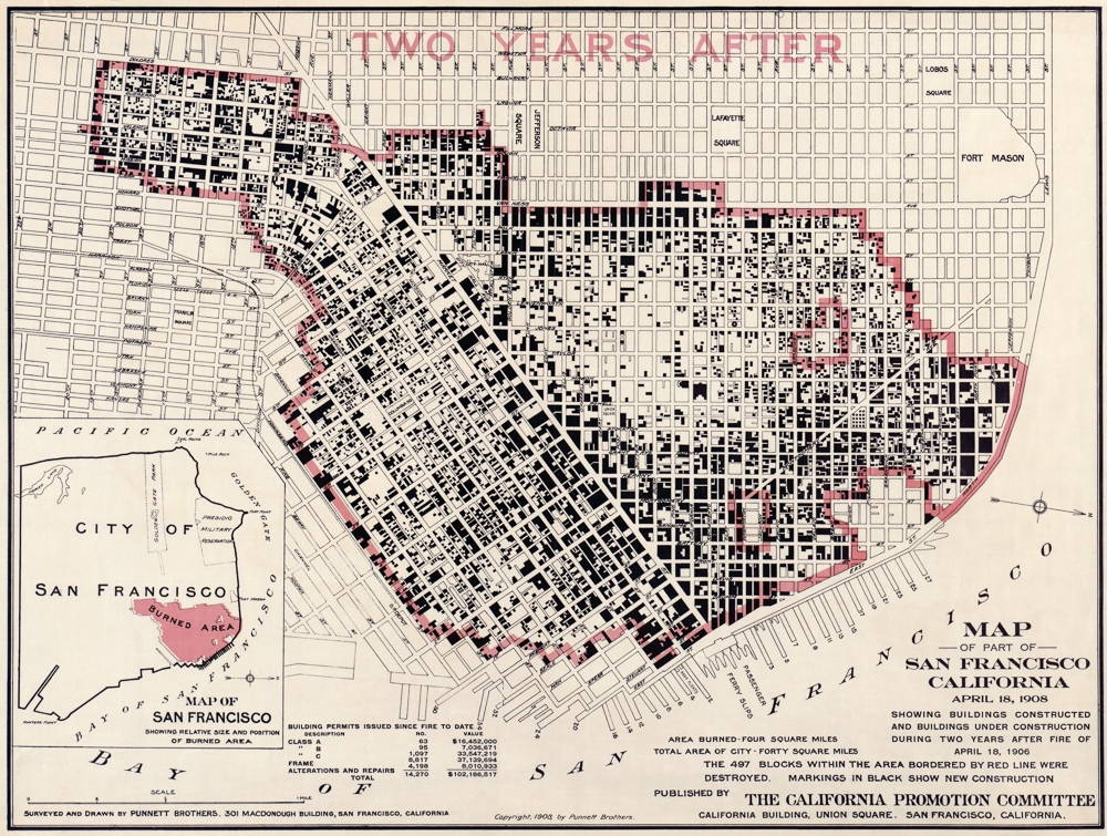 A map showing that 497 blocks in San Francisco were destroyed by earthquake-caused fires.