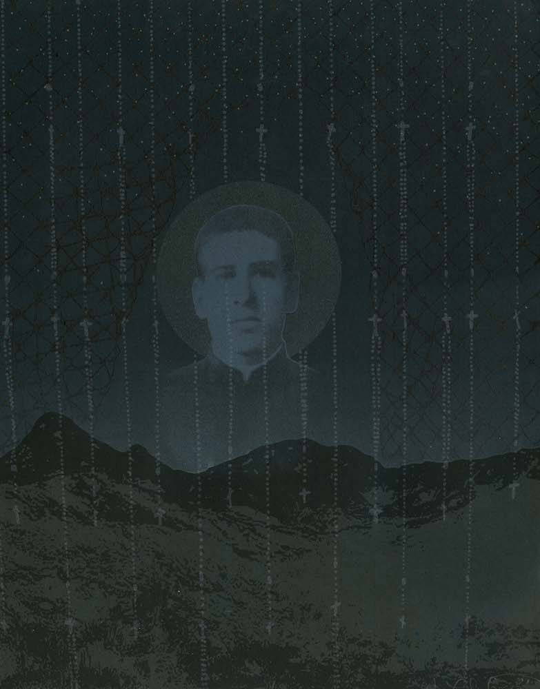 Against a dark desert backdrop, a translucent image of Santo Toribio is superimposed over rosary beads and barbed wire.
