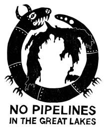"""Printed image of a reptile-like creature surrounding the Great Lakes with text """"No pipelines in the Great Lakes."""""""