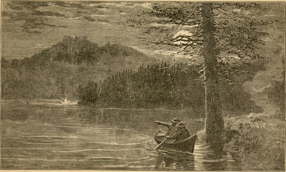 An illustration of two people paddling a canoe on a lake with trees on nearby shores.