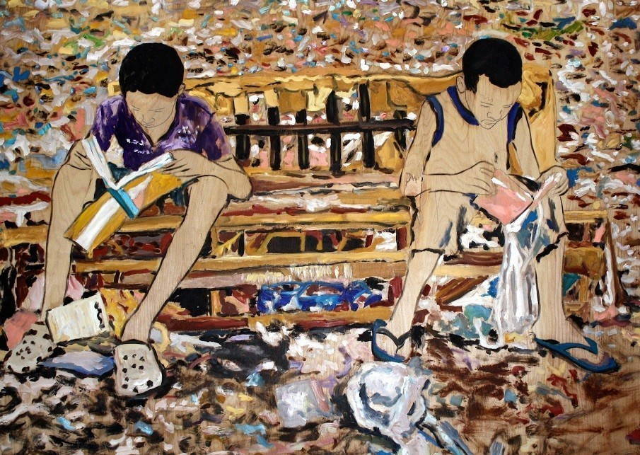 Brightly colored painting of two children on opposite sides of a park bench reaching books.