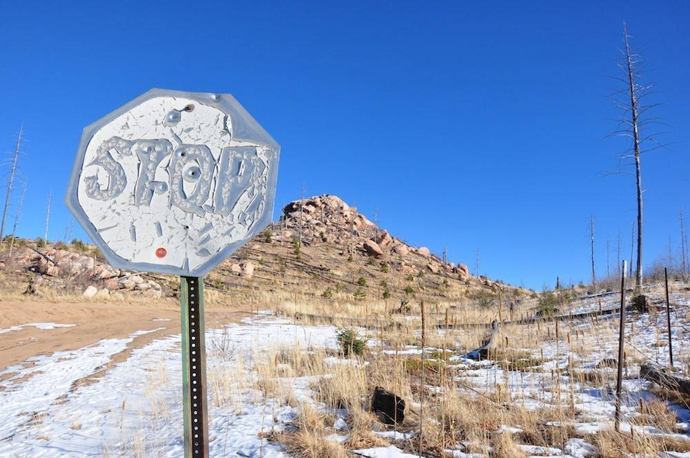 A stop sign scorched from the Hayman Fire of 2002 still marks an entry onto the 9J road in Pike National Forest.