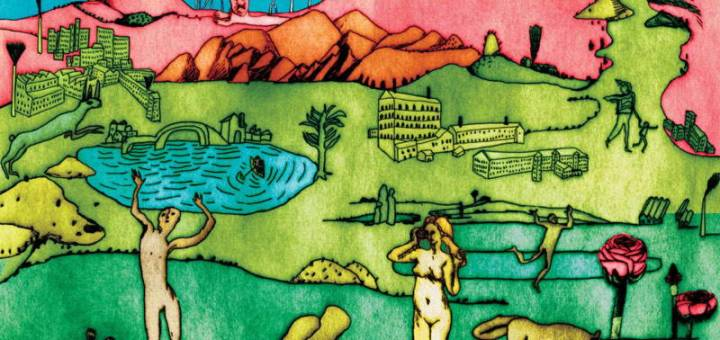 A colorful drawing with green fields, pink mountains, and a collection of human and animal figures.