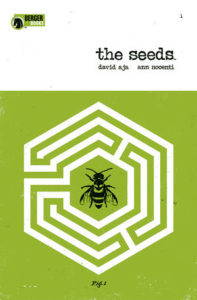 """Green book cover of """"The Seeds,"""" featuring a black bee in the center of a hive-like maze."""
