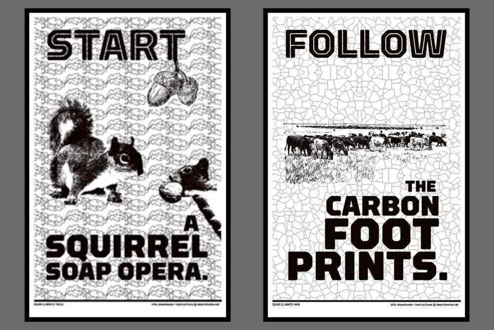 Two Dear Climate posters. On is of squirrels with acorns and the other depicts a herd of buffalo.