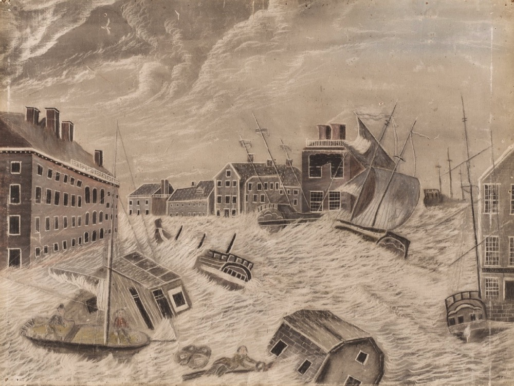A black and white etching of a flooded street with ships washing past buildings