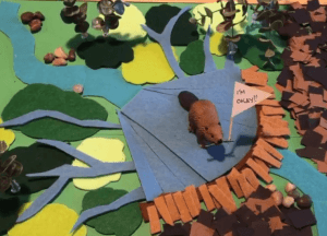 An image from Emily Fairfax's beaver ecology animation showing that beaver dams help mitigate wildfires.