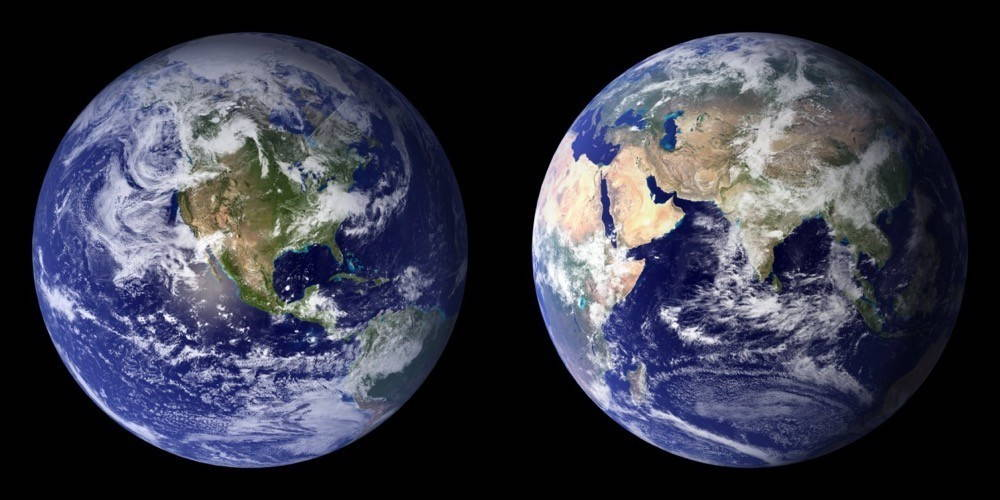 Two photographs of the planet Earth seen from space.