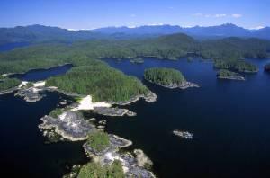 An aerial view of Haida Gwaii, an archipelago off the northern Pacific coast of Canada.