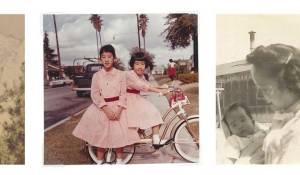 An old photo from the cover of Letters to Memory depicting two young girls in pink dresses and palm trees in the background.