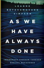 Book cover for Leanne Betasamosake Simpson's As We Have Always Done, dark water with blue lines criss-crossing the surface