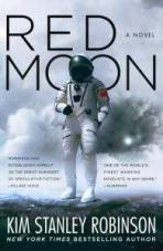 Astronaut poses on the book cover of Kim Stanley Robinson's novel, Red Moon.