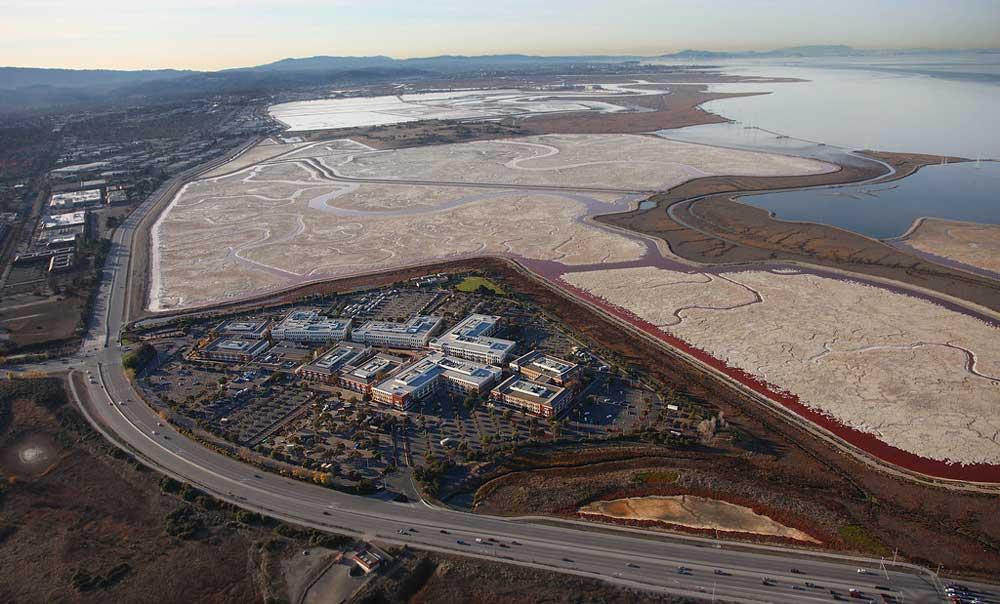 Aerial image of clustered buildings in between wetlands and a highway