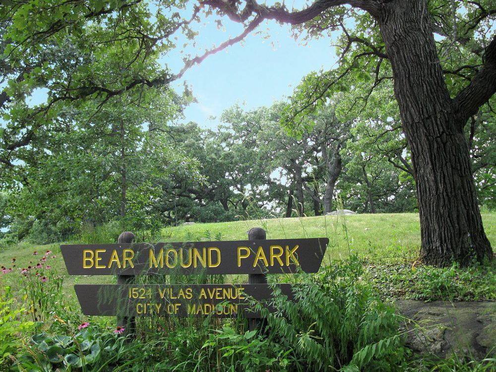 "Wooden sign, ""Bear Mound Park"""