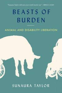 Against a green background are two white silhouettes of a cow and a person using a wheelchair. The title of the book in dark blue is at the top of the cover.