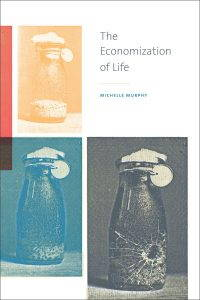 cover of the economization of life, photographs of a cracked jar