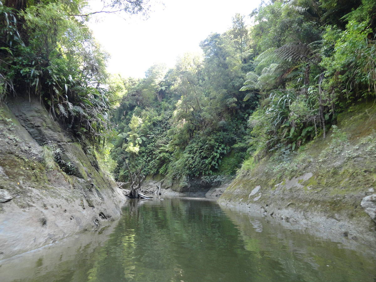 A river with steep banks